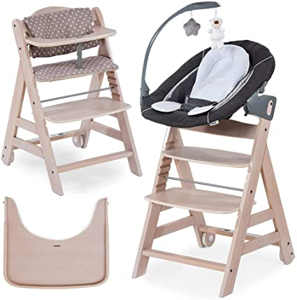 Hauck Beta Plus Newborn Set Deluxe - Wooden High Chair for Babies - Hauck  High Chair from Infant to Toddler with Baby Bouncer, Insert Cushion and  High