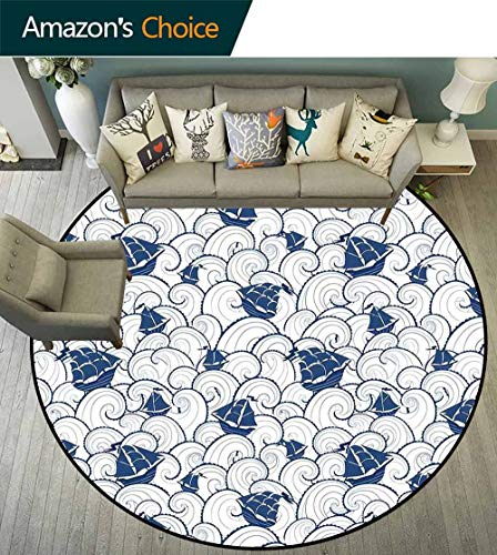 Nautical Round Rug Classroom,Ship on Marine Spiral Waves Cruising Boat on Ocean Journey Sea Illustration Stain Resistant & Easy to Clean,Blue and White,D-59 ()