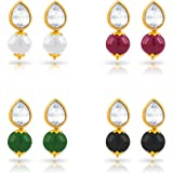 Kiwi Kreation Golden Non-Precious Metal Earrings for Women (Pair of 4)