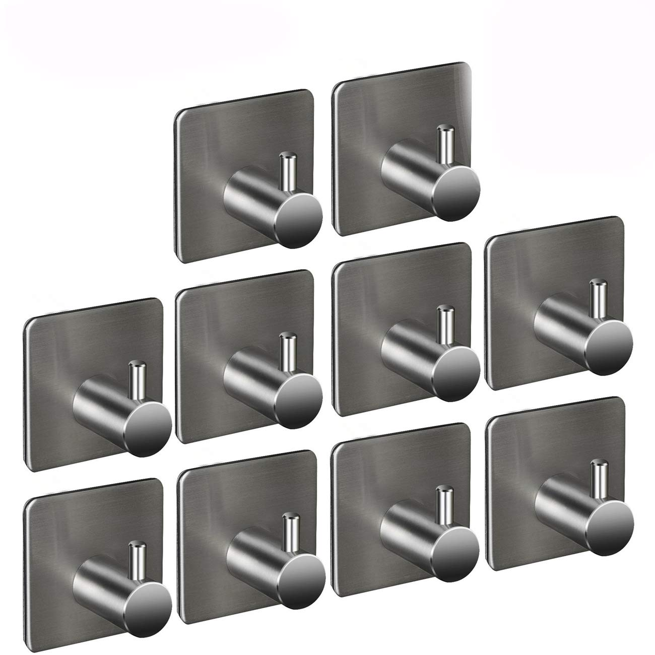 10 Pack of Self Adhesive Hooks, Heavy Duty Bath Towel Hooks Stainless Steel Hat Towel Robe Coat Stick-up Stainless Steel Hanger for Kitchen Bathrooms Lavatory Closets, Max 8kg Towel Rail, Water and Rust Proof Laixiu
