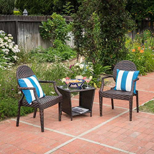 - Anaheim Outdoor 3 Piece Multi-brown Wicker Stacking Chair Chat Set (Trapezoid Table)