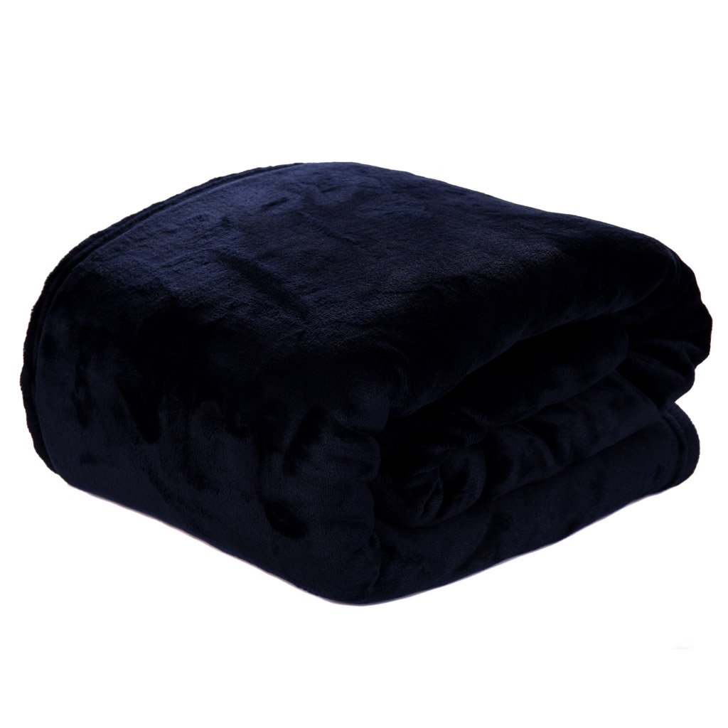 HYSEAS Velvet Bed Blanket, Light Weight Plush Luxurious Super Soft and Cozy Fuzzy Anti-Static Throw Blanket for Bed Couch Chair All Seasons, Queen Size, Navy Blue