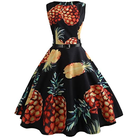 83fddb066a4 vmree Women Vintage 1950 s Audrey Hepburn Style Dress Pineapple Print Waisted  Rockabilly Swing Sundress (Black
