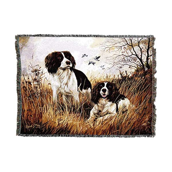 Pure Country Weavers - English Springer Spaniel Woven Tapestry Throw Blanket with Fringe Cotton USA Size 72 x 54 2