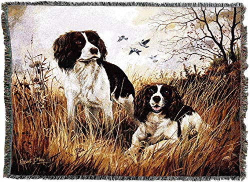 (Pure Country Weavers - English Springer Spaniel Woven Tapestry Throw Blanket with Fringe Cotton USA Size 72 x 54)