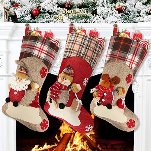 "Aitey Christmas Stocking, 18"" Set of 3 Santa, Snowman, Reindeer, Xmas Character 3D Plush with Faux Fur Cuff Christmas Decorations and Party Accessory (Short Hat2)"