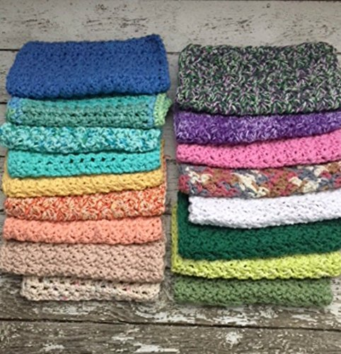 Handmade Cotton Kitchen Dish Cloth Choice of Color Crochet Dishcloth Cotton Washcloths Facecloth Skincare Bath (Eco Skin Clothing)