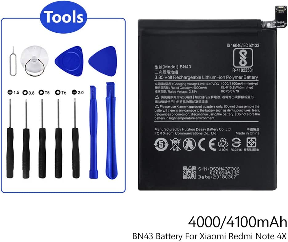 3.85V 4100mAh Phone Battery BN43 for Xiaomi Mi Redmi Note 4X with Repair Tools