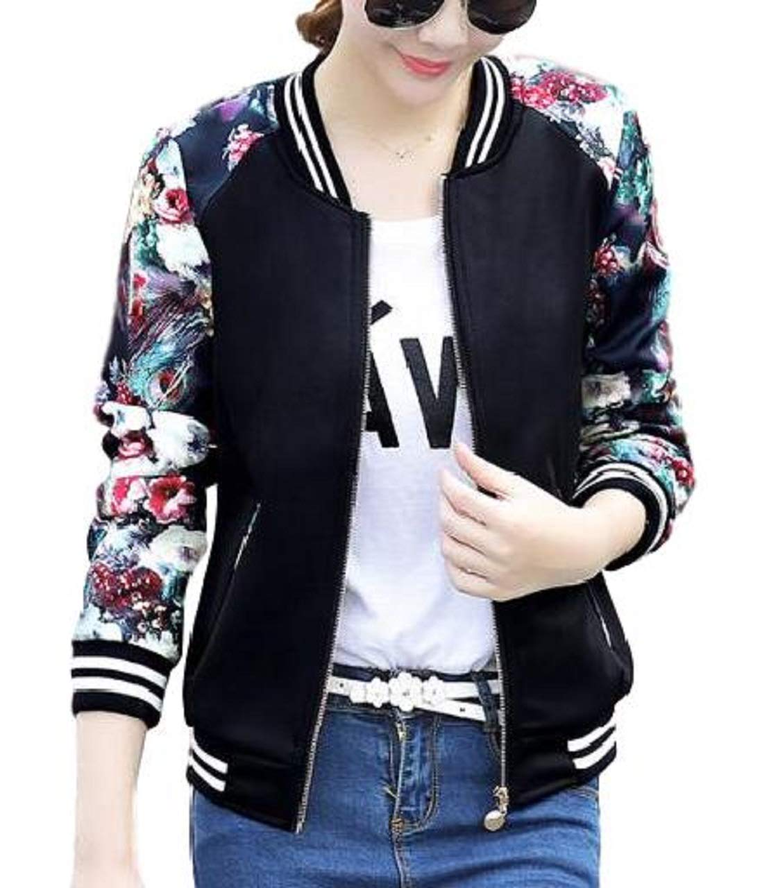 Lapiness Women's Bomber Jacket Quilted Floral Print Lightweight Short Casual Coat (03 Black, XXX-Large)