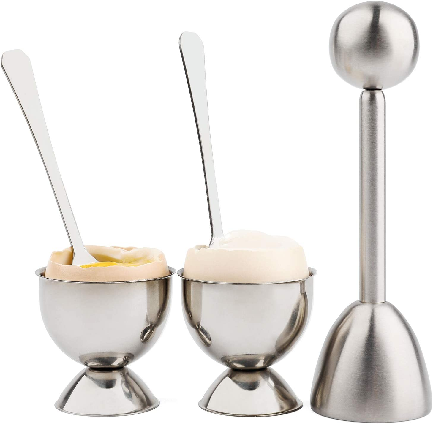 Soft Hard Boiled Egg Cutter Topper Set Egg Cracker with Include 2 Cup 2 Spoon 1 Topper Cutter Shell Separator Remover Stainless Steel Kitchen Tool