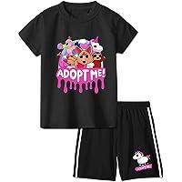 Adopt Me Ro-blox Juego de ropa corta para niños, conjunto de ropa de verano de manga corta camiseta y pantalones cortos…