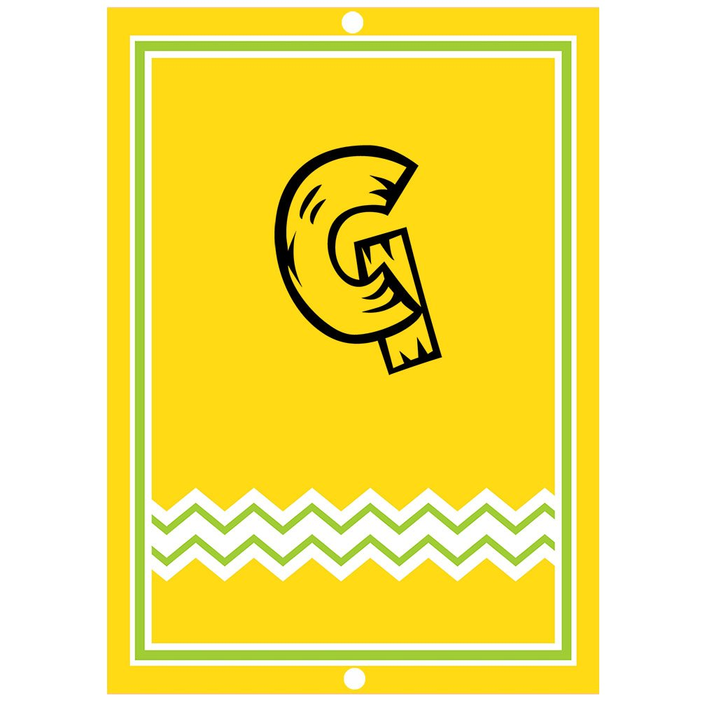 ''G '' Wood Initial Monogram Personalized Letter G Blue Room Nursery Décor METAL Sign Yellow