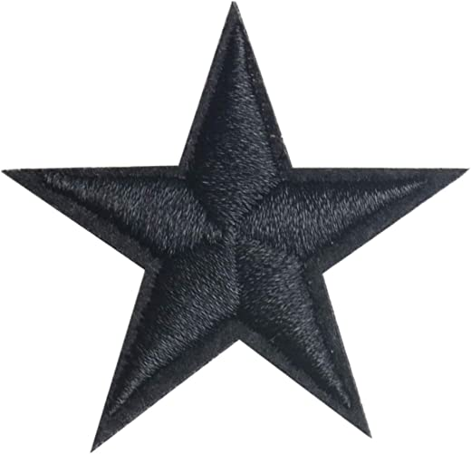 Pack of 24 Star Sew On Appliques Embroidered Stickers Badges Repair Patches for Hats Clothes Shoes Shirts Jackets (Star Black 24pcs)