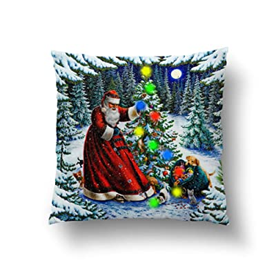 OUYAWEI Merry Christmas Cushion Cover Led Simple Happy New Year Pillow Case 4545cm (Without core) C: Home & Kitchen