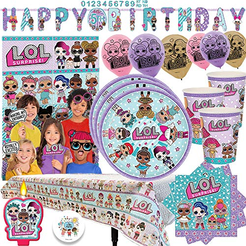 L.O.L. Surprise Party MEGA Pack with Decorations for 16 Guests With Plates, Cups, Napkins, Tablecover, Birthday Candle, Scene Setter with Props, 6 Balloons, and an EXCLUSIVE Birthday Pin by Another Dr