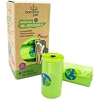 Bamboo Pet. Bolsas para Popo de Perro, Biodegradables y Compostables. Paquete de 120 Bolsas Bamboo Bags para Recoger Excremento de Mascotas
