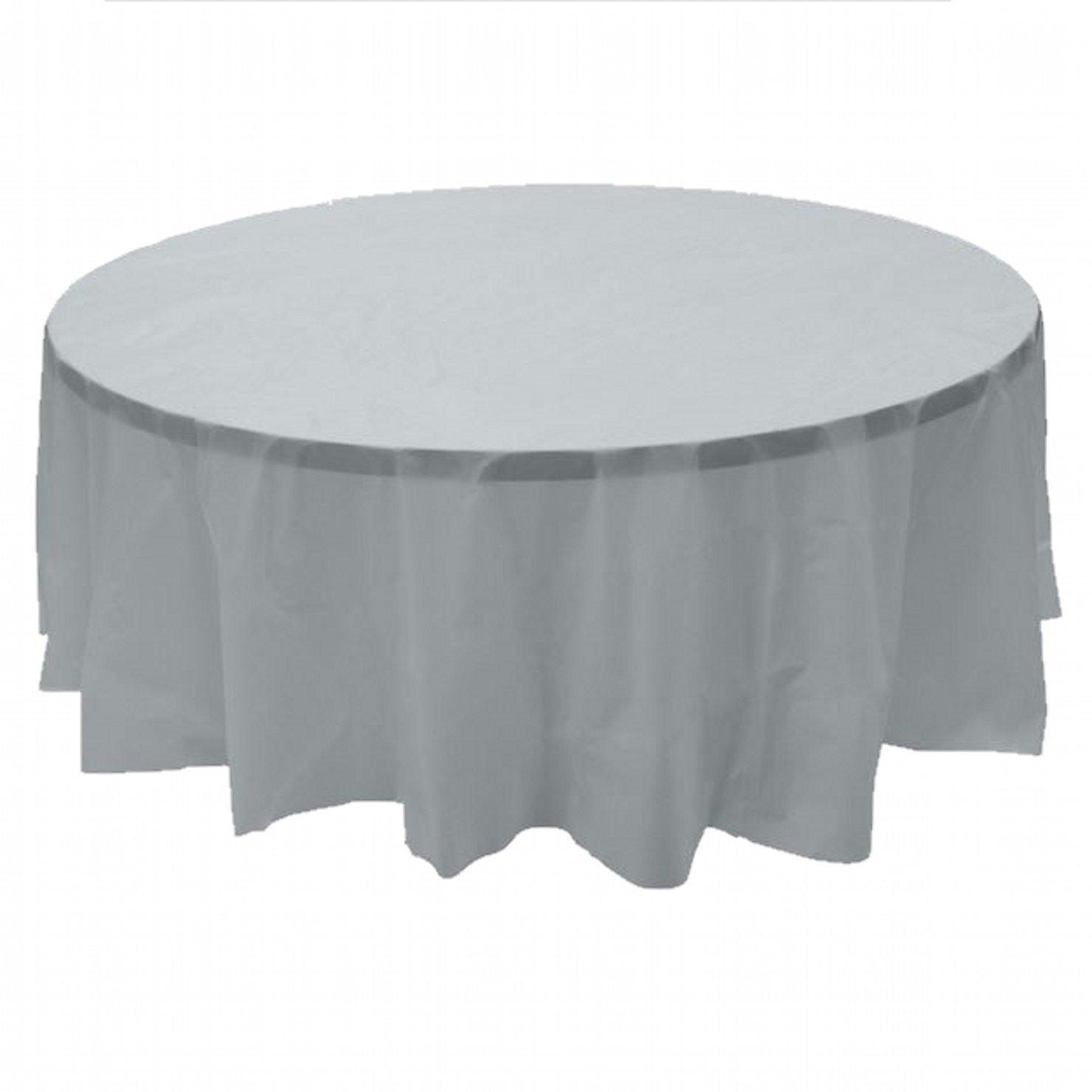 24 pcs (1 case) of Plastic Heavy Duty Premium Round tablecloths 84'' Diameter Table Cover - Silver