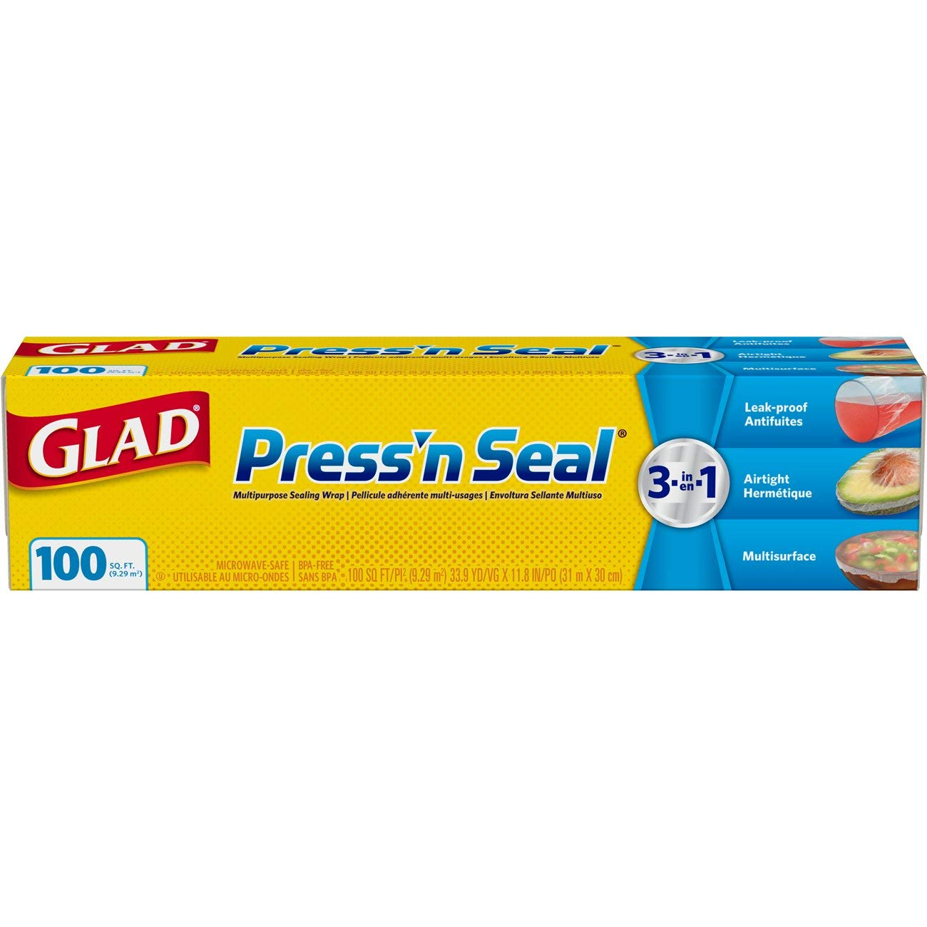 Glad Press'n Seal Plastic Food Wrap - 100 Square Foot Roll - 3 Pack by Glad