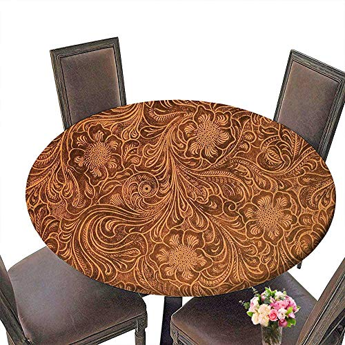 PINAFORE Modern Simple Round Tablecloth Detail of Fancy Tooled Leather Cover Good for s menus Buttons etc Decoration Washable 50