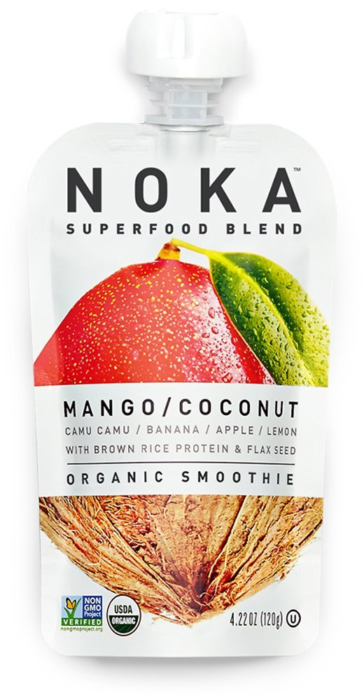 NOKA Superfood Blend, Organic Fruit & Veggie Smoothie Squeeze Pack, Mango Coconut, 4.2 Ounces, (Pack of 6 pouches)