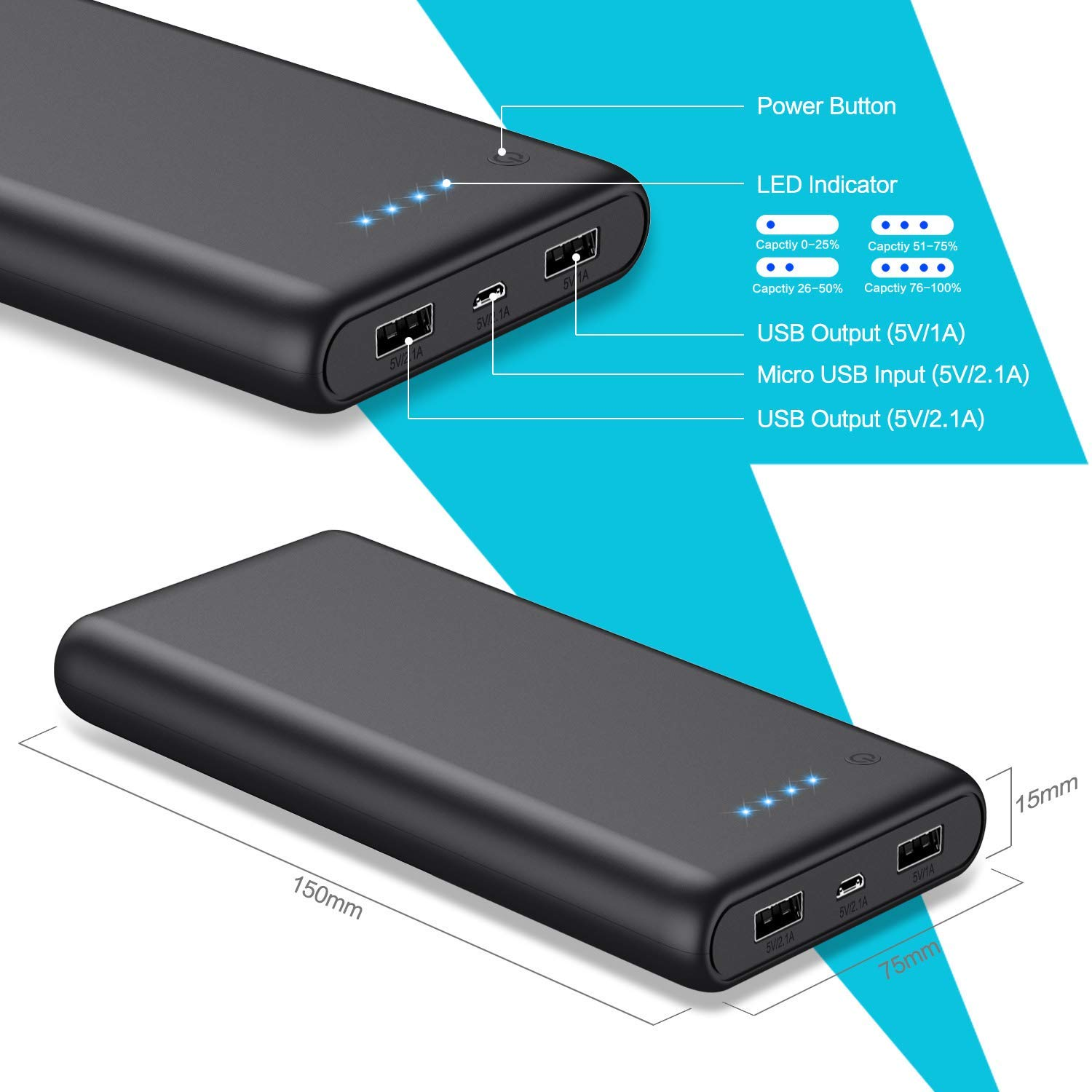 Portable Charger 25800mAh Power Bank Super High Capacity Lighter External Battery Pack Dual Output Ports Recharging Phone Charger for Android Phone Tablet etc Smart Phone