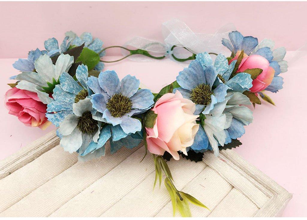 Wreath Flower, Headband Flower Garland Handmade Wedding Bride Party Ribbon Headband Wristband Hairband (Color : B)