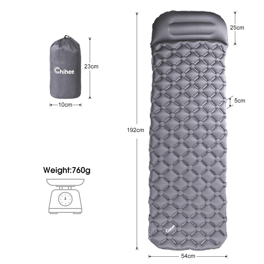 Quick Inflation /& Deflation Chihee Inflatable Sleeping Pad Lightweight /& Compact /& Comfortable Sleeping Mat Air Mattress For Camping Hiking Backpacking Picnic