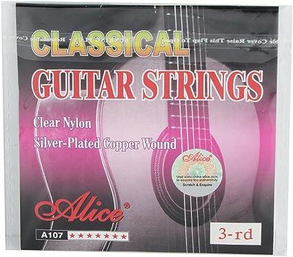 Alice cuerdas para guitarra de nailon clásica profesional g-3rd ...