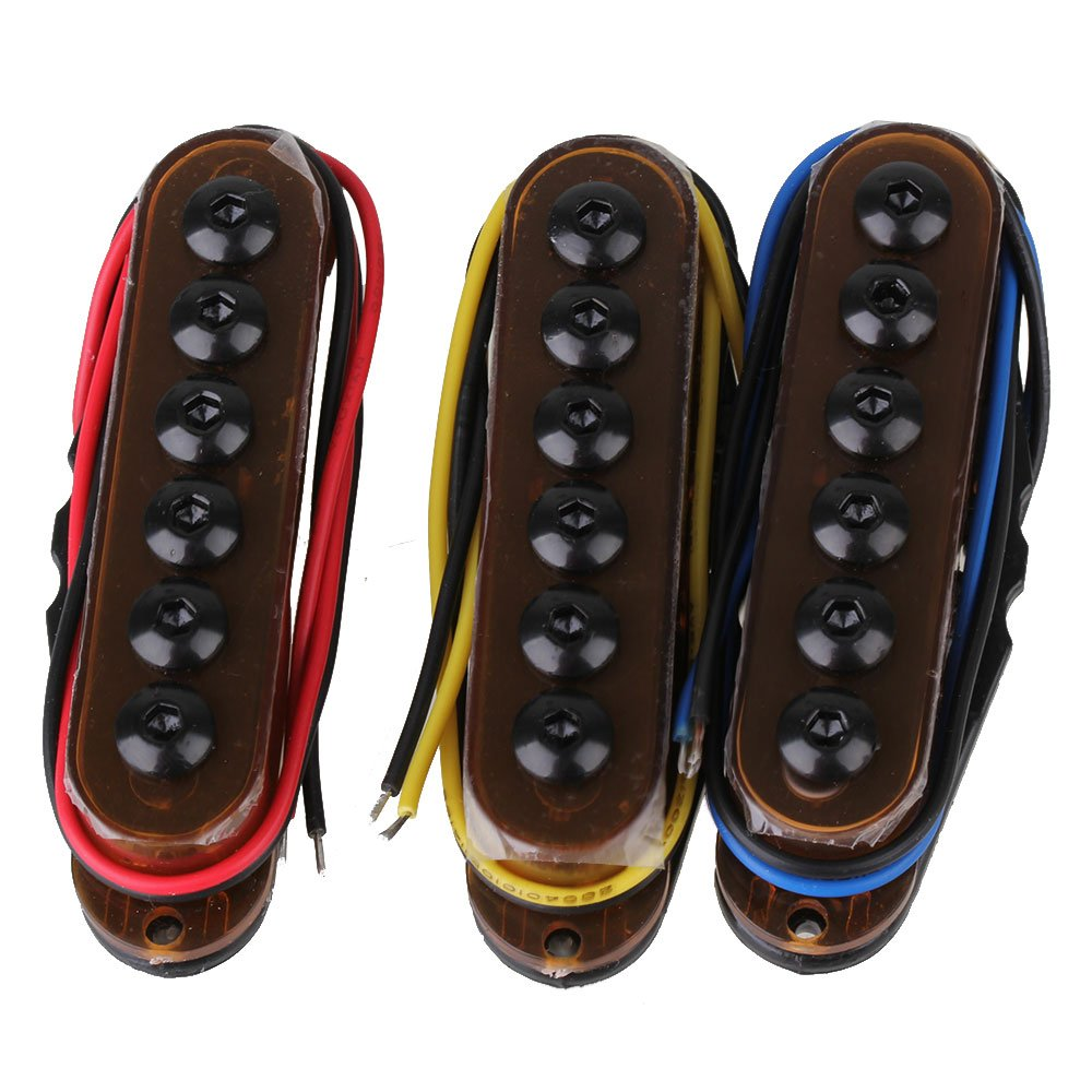 Lovermusic 3 x Brown Metal Single Coil Electric Guitar Pickups Set for 6 String Electric Guitar