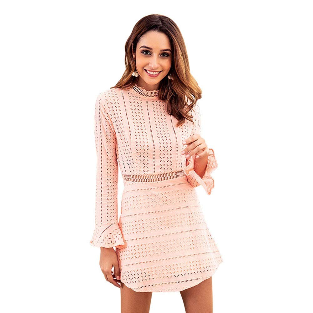 Women Lace Long Sleeve Blouse Crew Neck Solid Tunic Top Casual Evening Cocktail Mini Dress (Pink) (Size   XL)