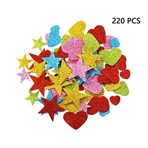 - DLOnline 220 Pieces Foam Glitter Stickers, Star and Mini Heart Shapes for Kid's Arts Craft Supplies Greeting Cards Home Decoration DIY Craft Ornament