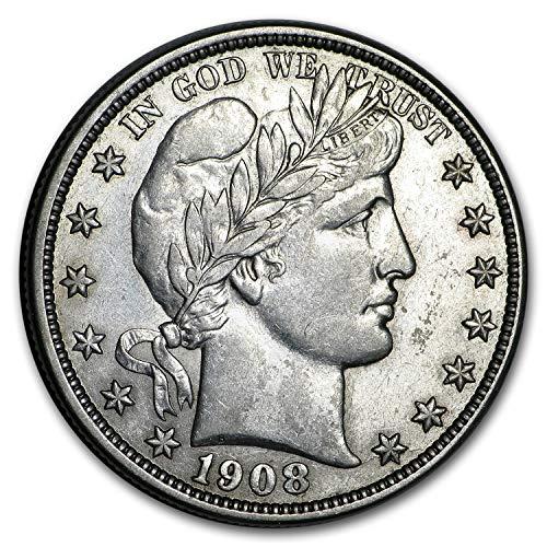 1908 D Barber Half Dollar AU Half Dollar About Uncirculated