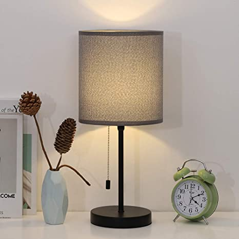 Modern Table Lamp, Nightstand Desk Lamp, Bedside Metal Lamp with Grey  Fabric Shade for Bedroom, Kids Room, Guestroom, Dressers, College Dorm
