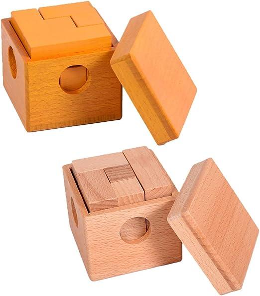 Junlinto, 7 Cubos en Caja Cubos de Soma Adulto Adulto Rompecabezas Juguete de Madera Olmo Bloques de Madera: Amazon.es: Hogar