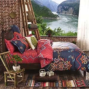 LELVA Bohemian Ethnic Exotic Style Bedding Bohemian Duvet Covers Boho Bedding Set Full Queen Size Summer Style Sabanas Sheet 4 Pieces … (Full, 10)