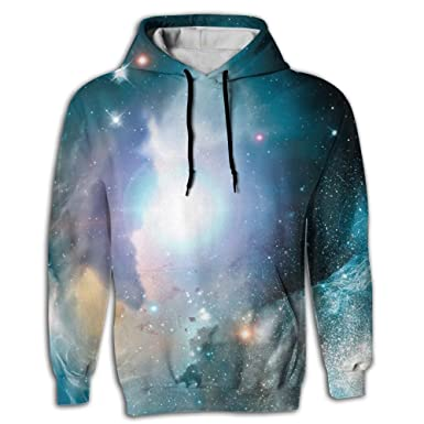 586caa933af0 Galaxy Stars 3D Men s Novelty Elegant Long Sleeve Hoodie With Cap For  Juniors Tunic