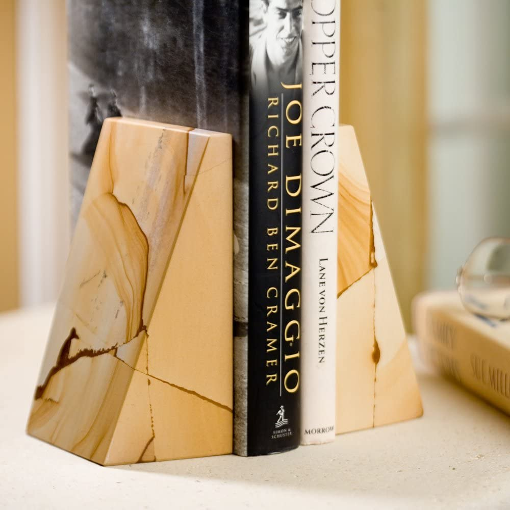 Triangular Natural Genuine Marble Bookends With Wedge Design Home Kitchen