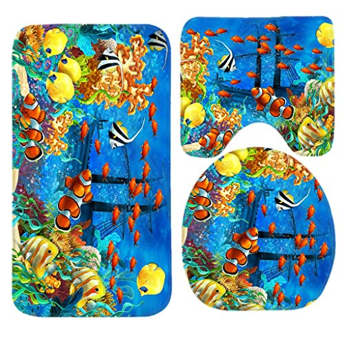 Lovely Bathroom Rug Mat 3 Pcs Set Shower Bath Rugs - Contour Mat and Lid Cover Soft Non-Slip Back - Blue Ocean Tropical Fish Coral Undersea World