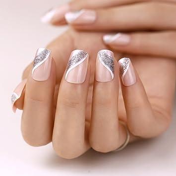 ArtPlus Uñas Postizas Falsas Artificial 24pcs Silver Pink Elegant Touch False Nails with Glue Full Cover Long Length Fake Nails Art
