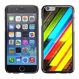 TopCaseStore / la caja del caucho duro de la cubierta de protección de la piel - Neon Lines Yellow Green Electric - Apple iPhone 6