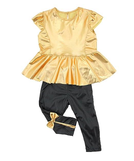 Amazon.com: Bebé Girls Kids dorado Camisa Vestido + Leggings ...
