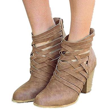 16f489c9106a Damen Stiefel Mit Absatz, Leder Blockabsatz Kurzschaft Knöchel Stiefeletten  Reißverschluss High Heel 7 cm Modern