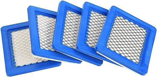 5 cartuchos de filtro de aire de repuesto para Briggs Stratton 491588 491588S 399959 JOHN DEERE PT15853 empuje cortacésped tractor limpiador de aire