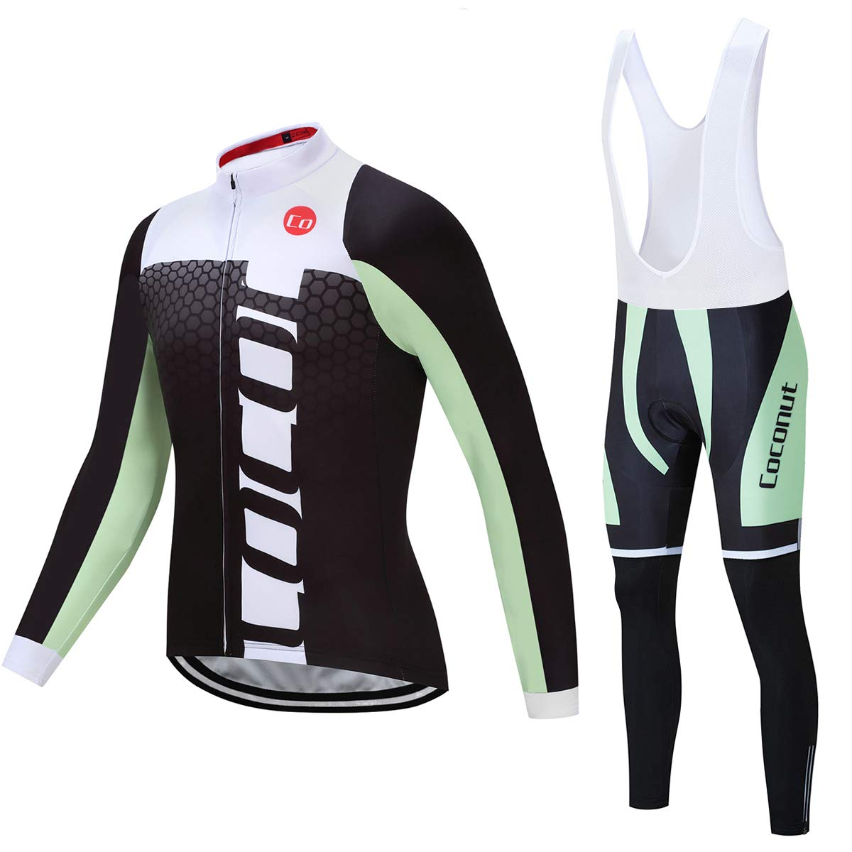 Coconut Ropamo Men's Cycling Jersey Suit Long Sleeve Road Bike Jersey Cycling Sets Tights with Padded (Green/White, Chest 40-42'' Waist 32-34''- Large) by Coconut Ropamo