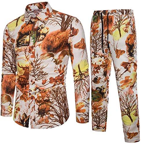 SHOWNO-Men Casual Vogue 2 Piece Suit Relaxed Fit Trousers Cotton Linen Floral Print Button Down Shirts 1 S