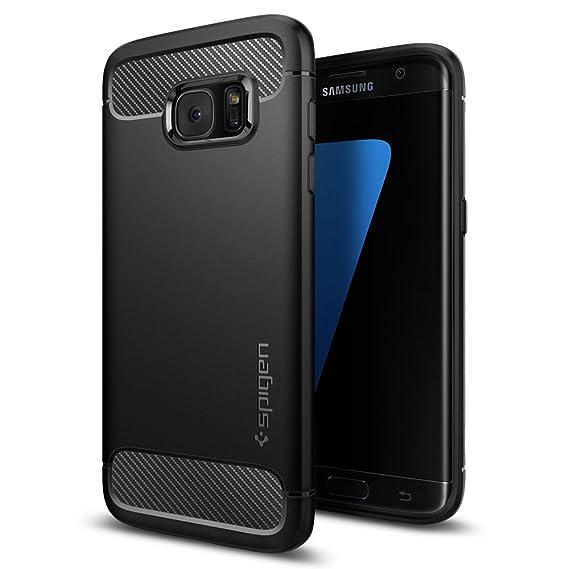 Samsung Galaxy S7 Edge Hülle, Spigen® [Rugged Armor] Karbon Look [Schwarz] Elastisch Stylisch Soft Flex TPU Silikon Handyhüll
