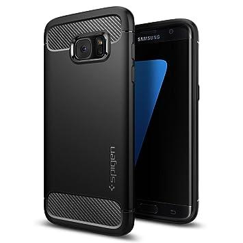 spigen Funda Galaxy S7 Edge, Carcasa [Rugged Armor] Absorción de Choque Resistente y diseño de Fibra de Carbono para Samsung Galaxy S7 Edge, Negro