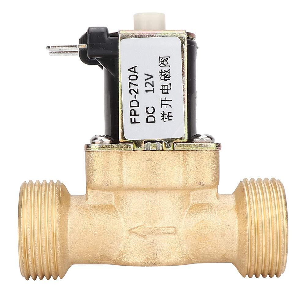 V/álvula solenoide de CC 12V//24V V/álvula electromagn/ética de lat/ón normalmente abierta G3//4Conexi/ón de rosca Interruptor de entrada de agua DC12V