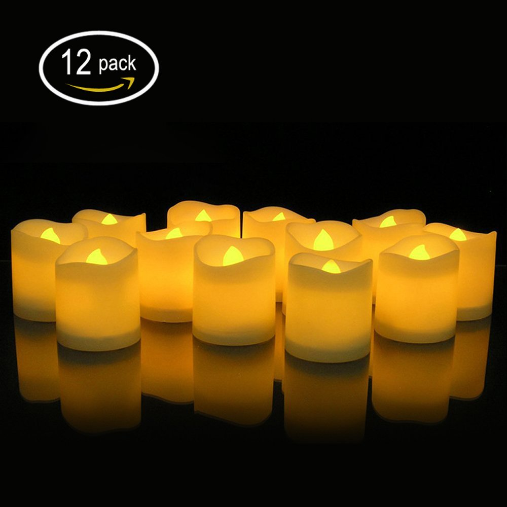 Winfi LED Tea Lights, Electric Candles,Realistic and Bright Flickering Bulb Battery Operated Flameless Candles for Seasonal & Festival Celebration, Warm White and Wave Open, Pack of 12 by Winfi