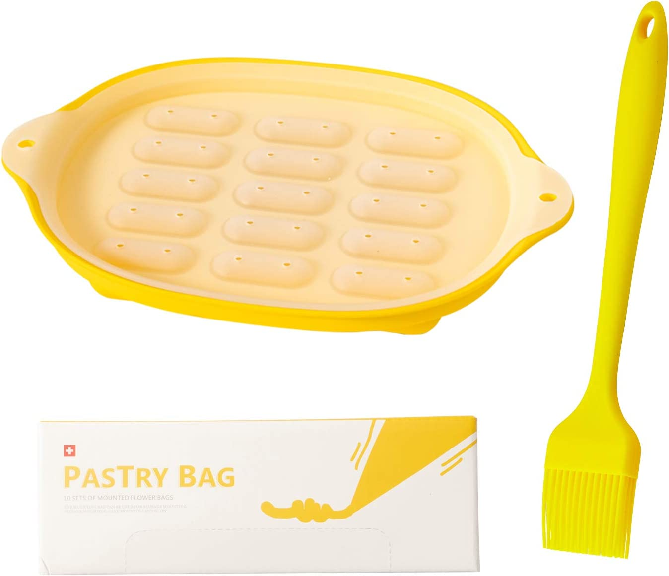 Blest Mini Sausage Mold Set for Making Baby Foods or Hot Dogs,BPA Free,Oven-Safe Up to 446℉,Easy to Pop Out,Brush for Baking,BBQ and More,Pastry Bags are Disposable,Non-Burst(Pack of 10).